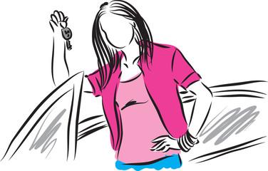woman with car keys illustration
