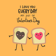 Romantic Valentine's Day Card. Cute Kawaii Characters. Vector Illustration. Cartoon style. Funny pun quote. Toasts