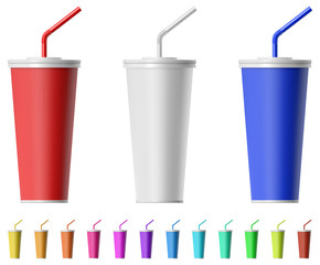 Fast food cup with straw