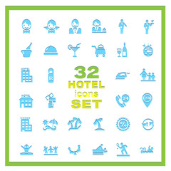 set of variety of hotels icons