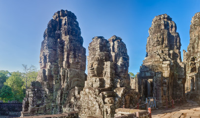 Buddha faces in Bayon temple in Angkor Thom. Siem Reap. Cambodia