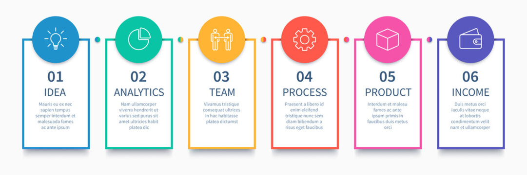 Process columns infographic. Business steps chart, workflow layout diagram and way from idea to income vector presentation concept