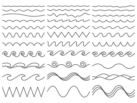 Wavy lines. Wiggly border, curved sea wave and seamless billowing ocean waves vector illustration set