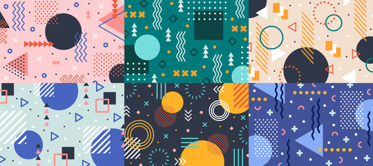 Lamas personalizadas con tu foto Memphis geometry background. Colorful shapes pattern, vivid coloring texture and funky color patterns abstract vector backgrounds