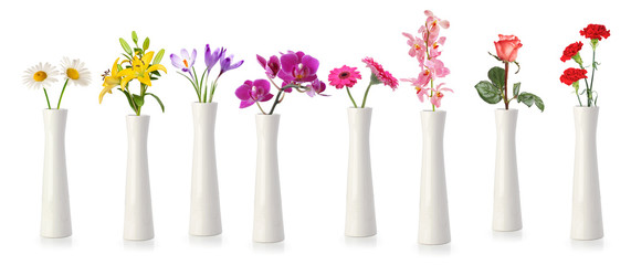 Photo sur Toile Orchidée Flowers in tall white vases