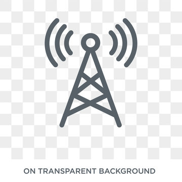 Radio antenna icon. Radio antenna design concept from Communication collection. Simple element vector illustration on transparent background.