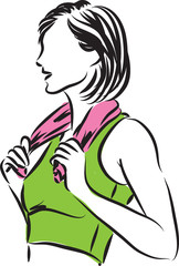fitness woman with towel illustration