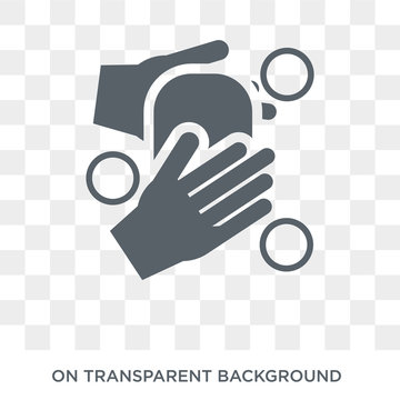 WASHING HANDS icon. Trendy flat vector WASHING HANDS icon on transparent background from Cleaning collection. High quality filled WASHING HANDS symbol use for web and mobile
