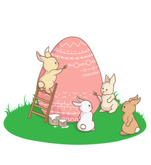 Funny cute Easter bunnies arttists painting and coloring Easter egg with paint brushes. Cuter vector card on white background.
