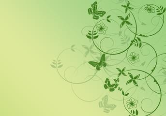 Beautiful green floral design - spring time illustration