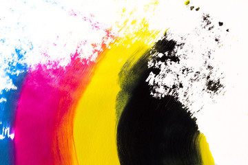 cmyk abstract acrylic painting texture with movement and isolated