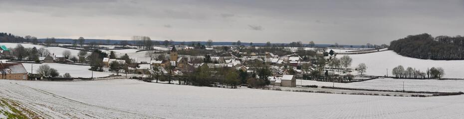 Panorama village en hiver de la Nièvre