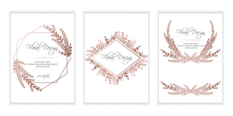 Banner on flower background. Wedding Invitation, modern card Design. Save the Date Card Templates Set with Greenery, Decorative Floral and Herbs Element. eps10.
