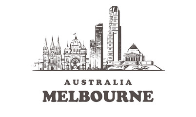 Fotomurales - Melbourne sketch skyline, Melbourne hand drawn vector illustration buildings.