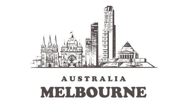 Melbourne sketch skyline, Melbourne hand drawn vector illustration buildings.