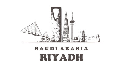Fotomurales - Riyadh skyline,Riyadh vintage vector illustration, hand drawn buildings.