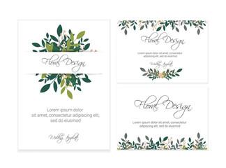 Banner on flower background. Flyer for wedding invitation. Natural botanical Greeting editable template. eps10.