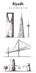 Fototapete - Set of hand-drawn Riyadh buildings. Riyadh elements sketch vector illustration.