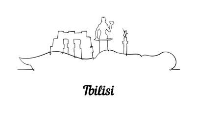 Fototapete - One line style Tbilisi skyline. Simple modern minimaistic style vector.