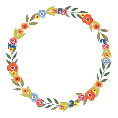 Hand painted Watercolor Floral Wreath Frame. Beautiful flowers illustration for wedding, baby shower, greeting card, invitation, birthday decor.