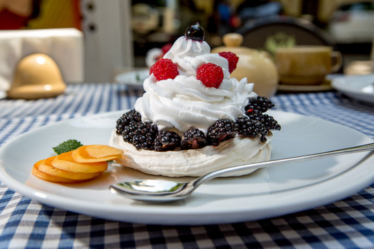 whipped cream with berries and strawberries