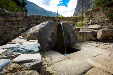 The bath of the princess Inca fountain in Ollantaytambo, Peru