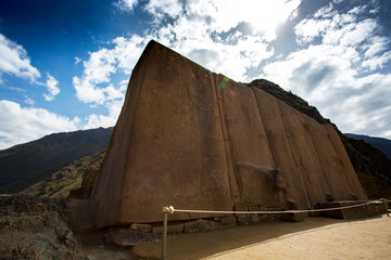 Huge Inca crafted rocks at Ollantaytambo, Peru