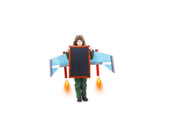 Child carrying blackboard