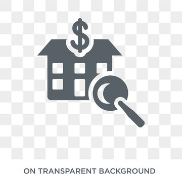 House price surveys icon. Trendy flat vector House price surveys icon on transparent background from Business  collection. High quality filled House price surveys symbol use for web and mobile