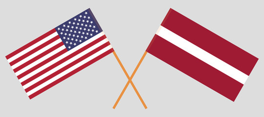 Latvia and USA. The Latvian and United States of America flags. Official colors. Correct proportion. Vector