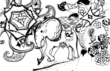 Illustration of a psychedelic elephant on a background of madhala, animals, patterns.