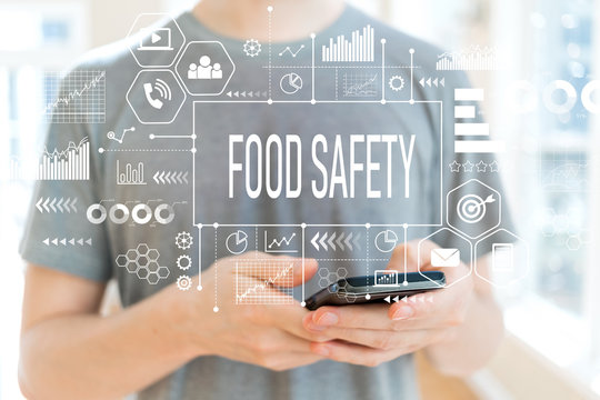 Food safety with young man using a smartphone
