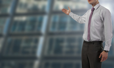 Businessman isolated on blurred and spacious background - business concept with copy space