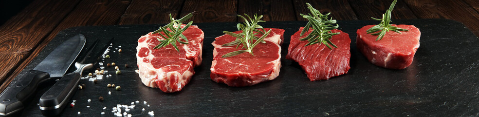 Steak raw. Barbecue Rib Eye Steak, dry Aged Wagyu Entrecote Steak.