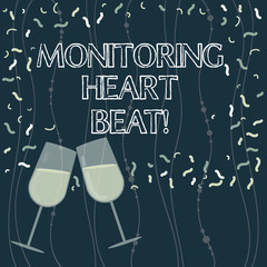 Writing note showing Monitoring Heart Beat. Business photo showcasing Measure or record the heart rate in real time Filled Wine Glass for Celebration with Scattered Confetti photo