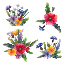 set of watercolor wildflowers for decoration