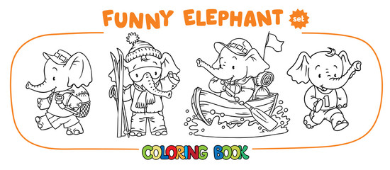 Funny baby elephant four coloring book set