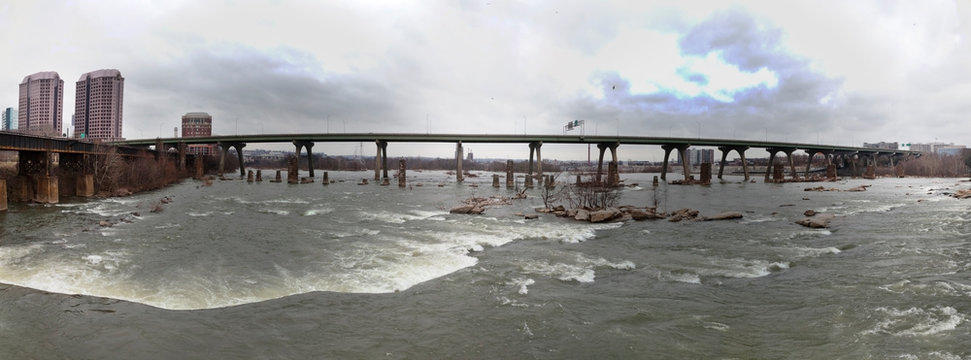 Richmond, Virginia winter cityscape along the James River.