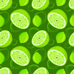 Lime seamless pattern. Sketch limes. Citrus fruit background. Elements for menu, greeting cards, wrapping paper, cosmetics packaging, posters etc