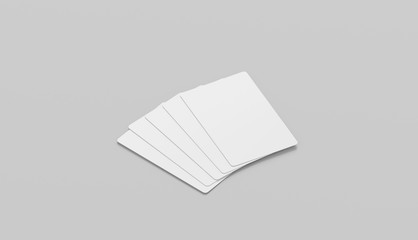 Blank white five playing cards face mockup, isolated, side view, 3d rendering. Empty paper taro mock up. Clear display for trump suit. Success and fortune in gaming template.