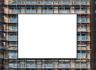 empty billboard canvas on building facade, advertisment mockup