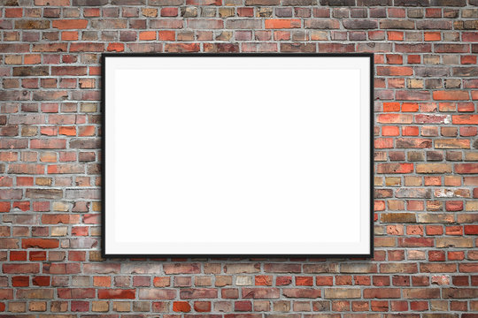 blank picture frame / white canvas on vintage brick wall background  -