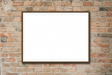 empty picture frame / white canvas mock-up on  brick wall