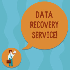 Conceptual hand writing showing Data Recovery Service. Business photo showcasing Process of retrieving inaccessible or lost data Man Carrying Briefcase Holding Megaphone Speech Bubble