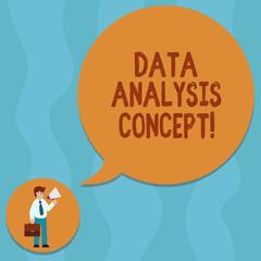 Conceptual hand writing showing Data Analysis Process. Business photo showcasing the procedures or techniques in analyzing the data Man Carrying Briefcase Holding Megaphone Speech Bubble
