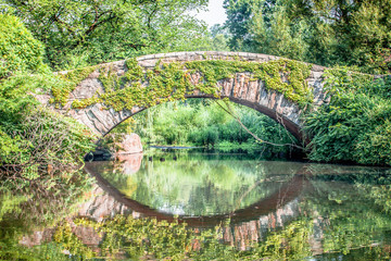 Beautiful Gapstow bridge reflecting in water in Central Park, New York City during summer sunny day