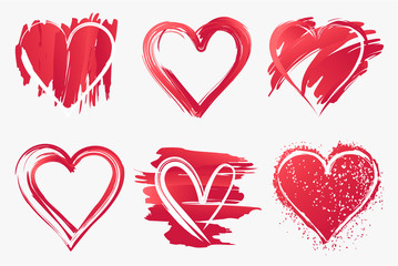 Set of brush painted heart vector image