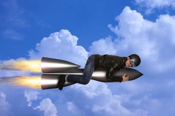 Superheld auf einer Rakete