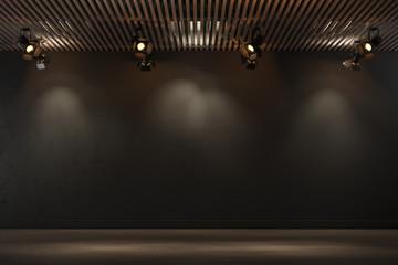 Empty dark room. Boutique shop interior design with spotlights. 3d illustration