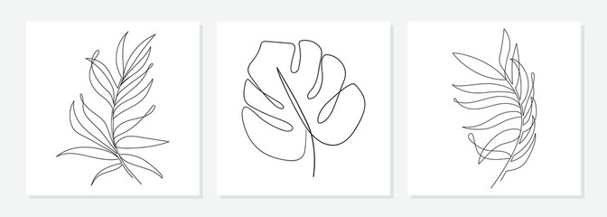 One line drawing vector monstera leaf and palm tree leaves. Modern single line art, aesthetic contour. Perfect for home decor such as posters, wall art, tote bag or t-shirt print, sticker, mobile case Fototapete